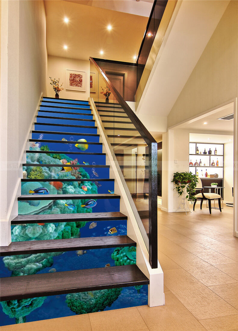3D Deep Sea Islands Stair Risers Decoration Photo Mural Vinyl Decal Wallpaper CA