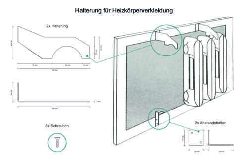 Halterung für Heizkörperverkleidung lackiert Metall Gliederheizkörper 150x40mm