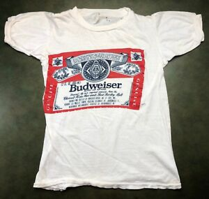 c03f0144 Vintage Mens S 70s 80s Budweiser Lager Beer Label Bud Light Logo ...