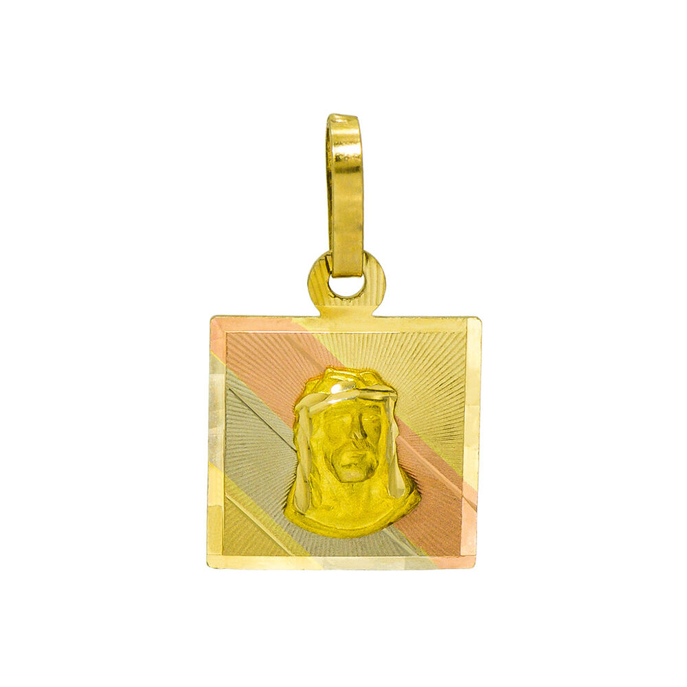 14K Tri-color gold Jesus Christ Square Charm Pendant, 0.7 Inches