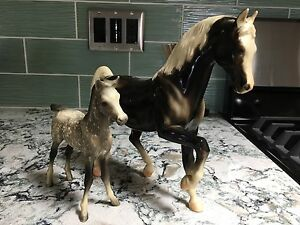 Breyer~Vintage~Glossy Charcoal FAStallion & Dapple Gray PA Foal~VGC