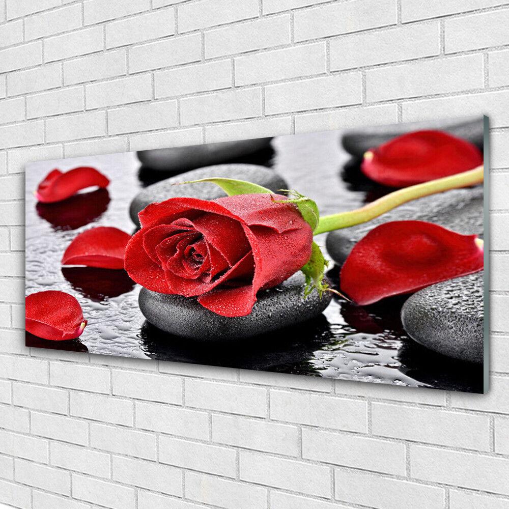 Tableau murale Impression sous verre 125x50 Floral Rose Pierres
