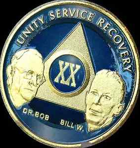 AA-Founders-20-Year-Chip-Gold-Plated-Blue-Alcoholics-Anonymous-Medallion-Coin