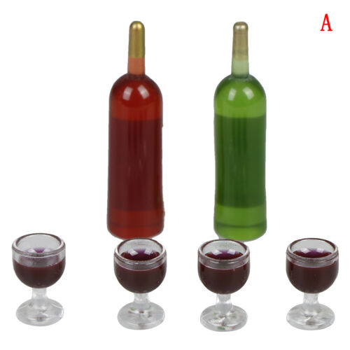 1 Set Mini wine bottle with four wine glass doll house cup set toy /_A BJ