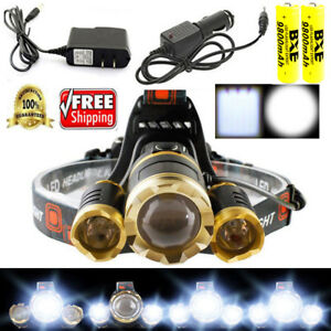 350000LM 5X CREE T6 LED Headlamp Headlight Head Torch Rechargeable Flashlight *
