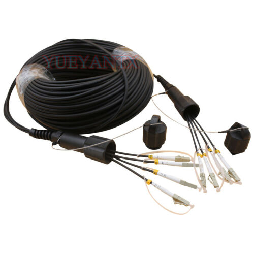 100M LC-LC MM 4 Strand Armored Field TPU Optic Patch Cord Cable Waterproof Head