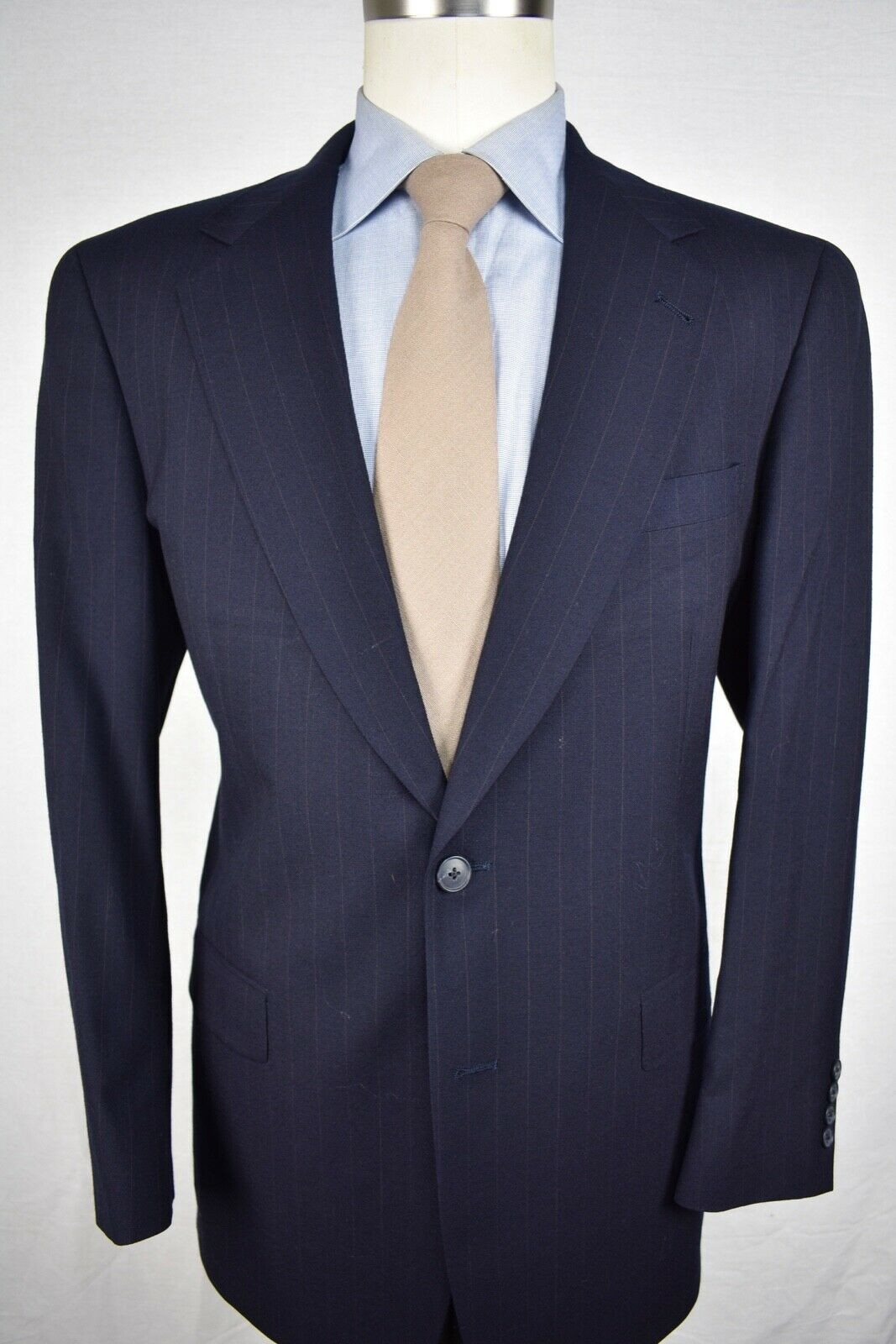 Austin Reed Navy bluee Pinstripe Worsted Wool Two Button Two Piece Suit Size  40R