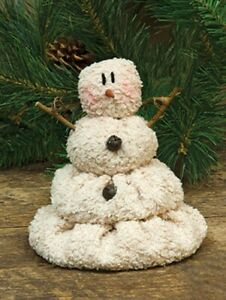 Primitive-MELTING-SNOWMAN-DOLL-Bells-Christmas-5-5-034-Chenille-Winter-Crafts
