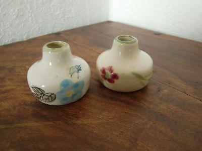 Porzellan Vasen, 2 Stück, Blumen Muster, Für Puppenstube, Puppenzubehör
