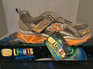 Skechers-S-Lights-Galvanized-Boys-039-Shoes-Gray-Orange-NIB-New-Sizes-Cool