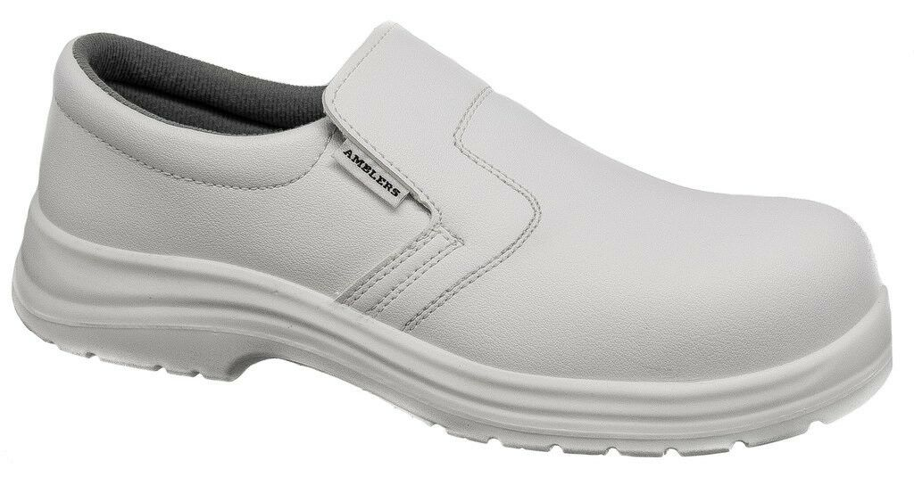 Mens Safety shoes   White Composite Metal Free Slip On Kitchen Hygiene Amblers