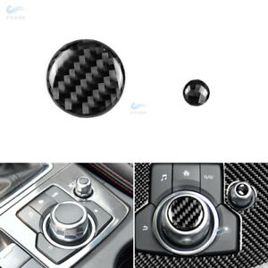 2-Carbon-Fiber-Control-Multimedia-Button-Volume-Cover-For-Mazda-3-CX-5-M3-M6-17
