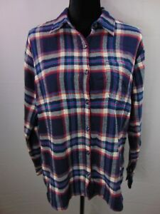 Dickies-Crafted-For-Women-Womens-L-Plaid-Flannel-Long-Sleeve-Button-Casual-Shirt