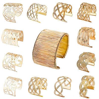 Women Chic Gold Plated Bracelet Chunky Cuff Wrist Bangle Jewelry Hot Luxury