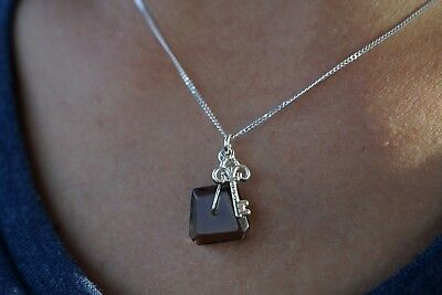 Small Fluorite Drop Necklace Sterling Silver Gift for her Dainty necklace