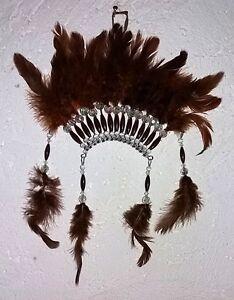 Indianer-Kopfschmuck-Indianerfedern-Indianerschmuck-32cm-Federn-braun-Deko-Wand