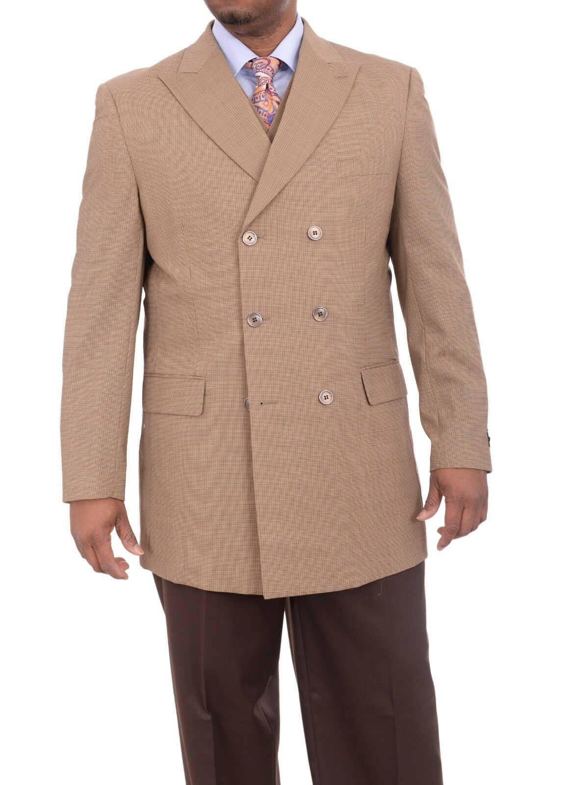 Apollo King Classic Fit Brown Houndstooth 3 Piece Double Breasted Suit 50L 46W