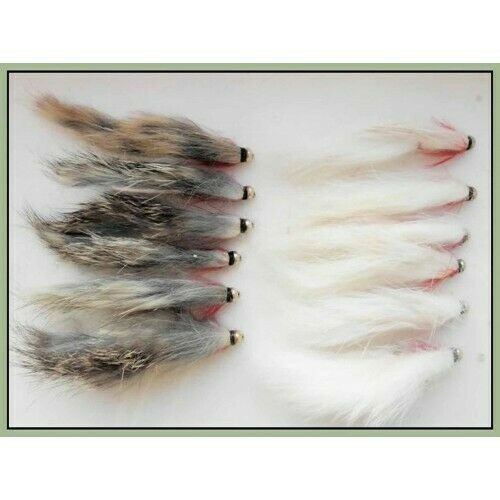 Gold head Zonkers 12 x  White /& Natural Size 8//10 Trout Flies Fishing Flies