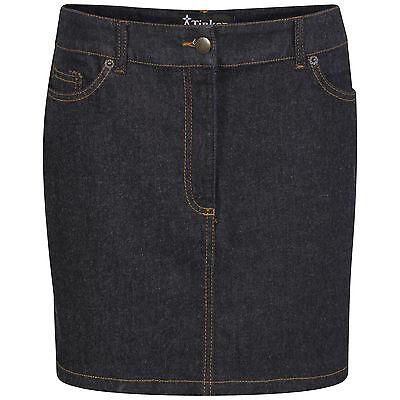 DeMina Womens Ladies Faded Denim Jean Short Stretch Dark Wash Mini Skirt Dianne