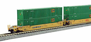 KATO 106-6174 Gunderson Maxi-iv 3 Unit Well Car Double Stack TTX No Containers