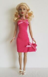 TINY-KITTY-CLOTHES-pink-Dress-beaded-Purse-and-Jewelry-HM-Fashion-NO-DOLL-d4e