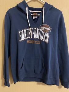Harley Davidson Womens Large V-Neck Hoodie Blue Sweatshirt Pullover Okoboji Iowa