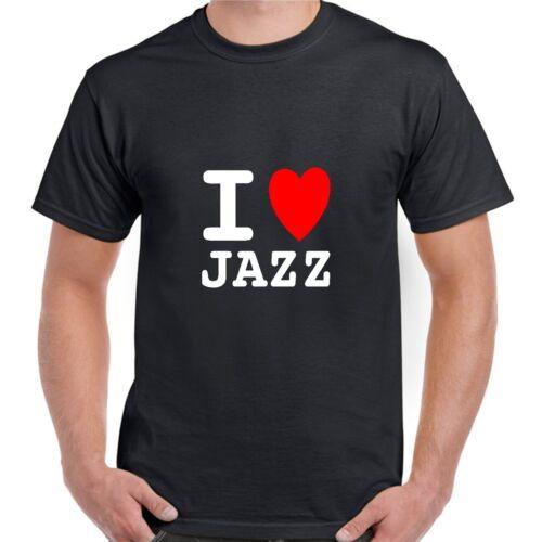 I heart love JAZZ T shirt BNWT choose colours fun retro novelty GIG MUSIC