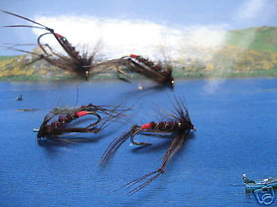 4 V FLY TAILLE 12 Super Red Pearl Claret Trémie Truites Mouches