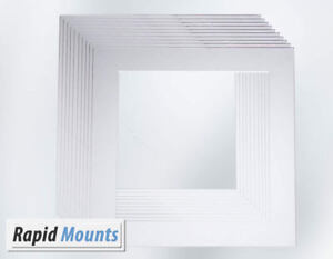 10-Pack-Square-Mounts-for-Picture-Photo-frames-White-Core-board-Various-Sizes