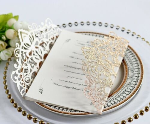 Glitter Rose Gold Wedding Business Invitation Card With Envelopes
