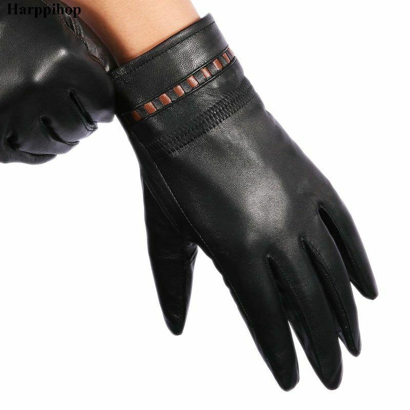 Men's Genuine Leather Gloves Autumn Winter Sheepskin Fashion Thin Wrist Mittens