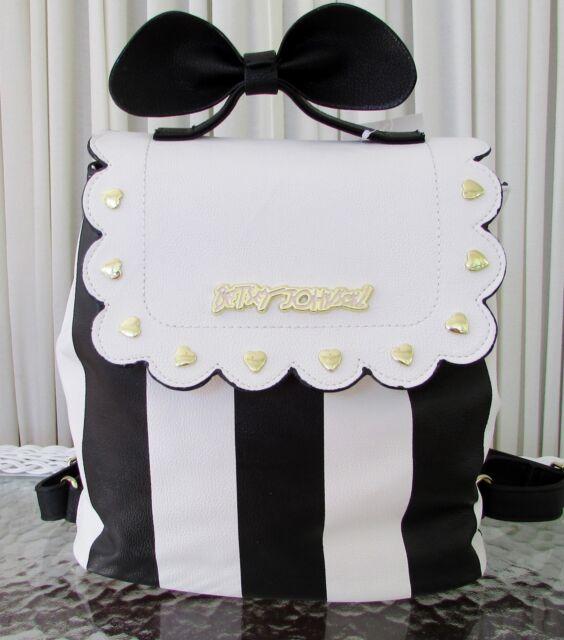 c394563beba Betsey Johnson Bow Top Handle Backpack Black White Stripe Shoulder ...