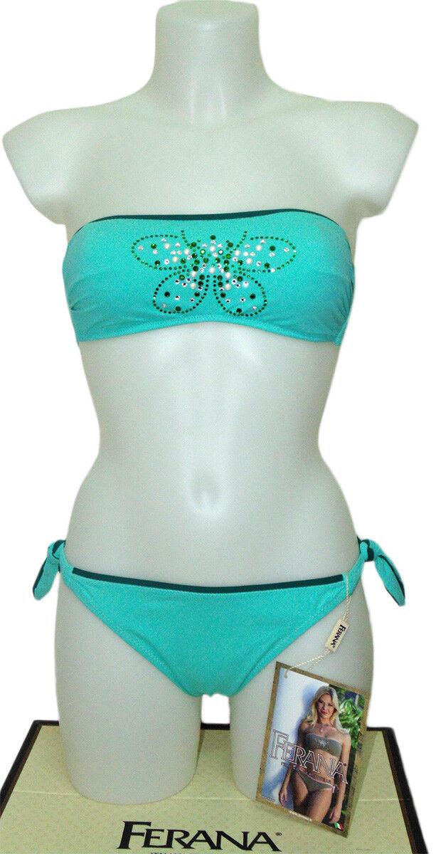 Costume BIKINI ferana farfalla  fascia double face verde 2 pezzi