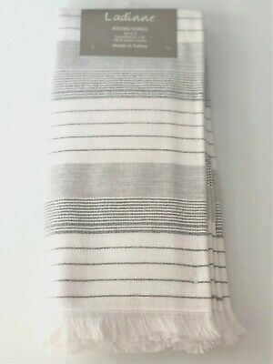 LADINNE SOFT GRAY STRIPE DOT KITCHEN DISH TEA TOWELS w//FRINGE TURKISH COTTON 3