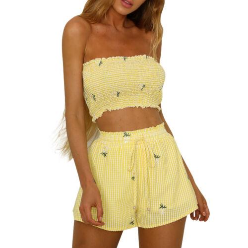 Shorts Bandage Pants Set Fashion Women Girls Print Off Shoulder Vest Tank Tops