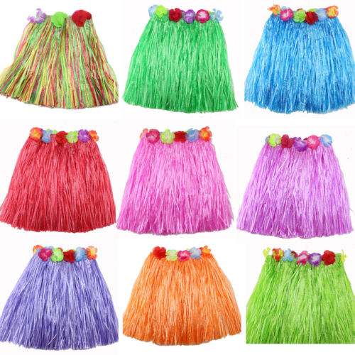 Ladies Women Hawaii Fancy Dress Grass Skirt Hula Hawaiian Full CharmingC AGUK