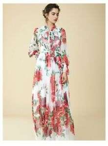 Details about PGM14 Women Designer Inspired Floral Print Bow Summer Maxi  Dress PLUS SIZE