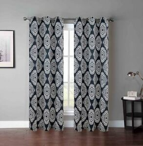 Set Of Two 2 Grommet Window Curtain Panels Charcoal