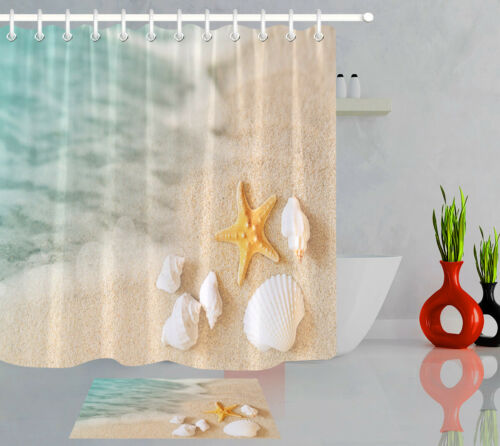 "Blurry Lagoon Sand Beach Starfish Conch Waterproof Fabric Shower Curtain Set 72/"""