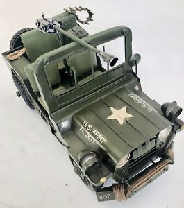 US-ARMY-MILITARY-JEEP-TIN-PLATE-WITH-GUN-LARGE-MODEL-PRESSED-METAL-1-12