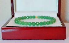NATURAL 6mm Light Green Faceted EMERALD Bangle Bracelet 14K Yellow Gold