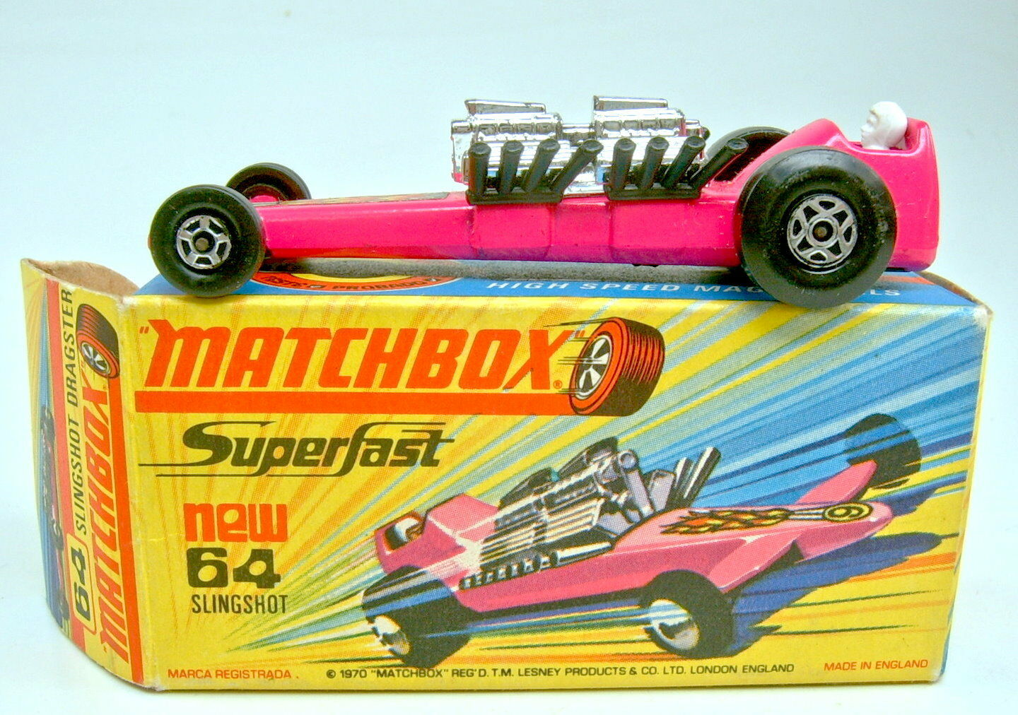 MATCHBOX superfast Nº 64b slingshot  Dragster Hot rose top dans Box  le plus en vogue