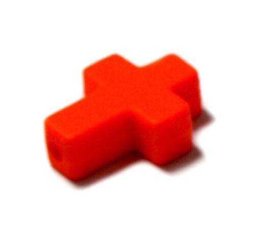 Farbenfrohe Kreuz Perlen /Neonfarben 16*12mm /Kinder/ Baby/ Taufe/ Geburt/Ostern Kreativset-Perlen für Kinder