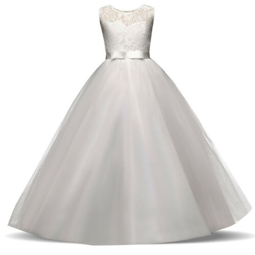 Girls Kid Lace Flower Bridesmaid Maxi Long Dress Party Princess Prom Wedding New
