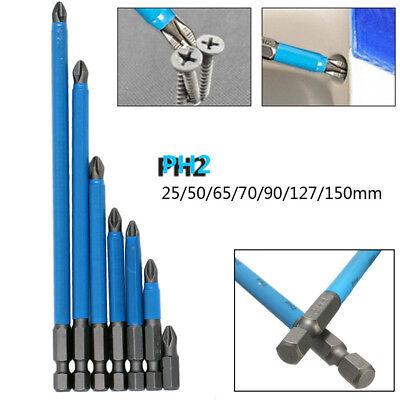 Long Reach S2 Metal Single Head Phillips//Cross Hex Shank PH2 Screwdriver Bits