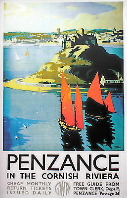 "/""CORNWALL/""   Vintage Art Deco Railway//Travel Poster A1,A2,A3,A4 Sizes"