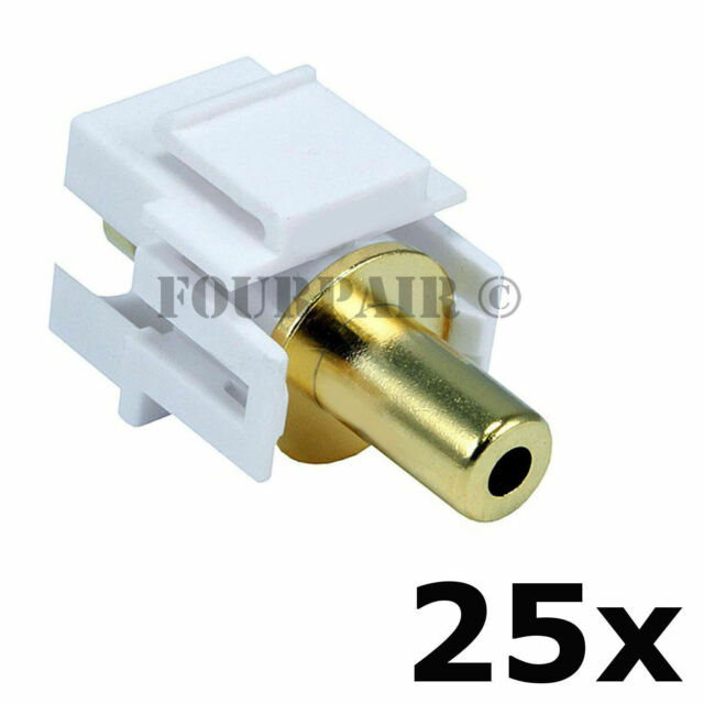 """3.5mm 1//8/"""" Gold Stereo Female Jack Aux Coupler Keystone Snap-In White 10 Pack"""