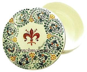 Italian-FLORENCE-FLAG-TUSCAN-Handmade-Painted-Ceramic-FLEUR-DE-LYS-Round-BOX-New
