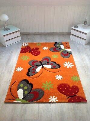 Kinderteppich Spielteppich Schmetterling Butterfly Kurzflor, Orange 3D, NEU !!!
