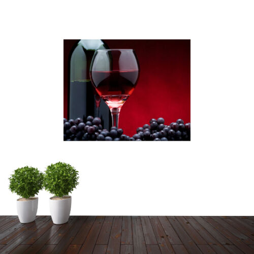 Bottle of red Wine and glass foody wallpaper mural kitchen design wm055